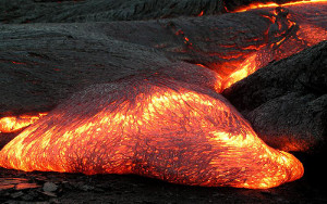 Advancing Pahoehoe toe, Kilauea Hawaii 2003 'Kohola breakouts and Highcastle ocean entry'